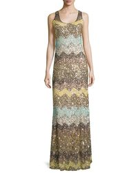 Calypso St. Barth | Metallic Rotemi Embellished-chevron Maxi Dress | Lyst
