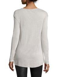 Halston - Multicolor Long-sleeve Drape-front Top - Lyst
