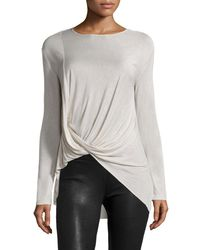 Halston | Multicolor Long-sleeve Drape-front Top | Lyst