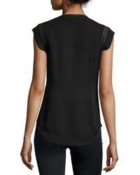 Veronica Beard - Black Fulton Silk Flutter-sleeve Top - Lyst