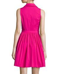 Michael Kors | Pink Sleeveless Collared Shirtdress | Lyst