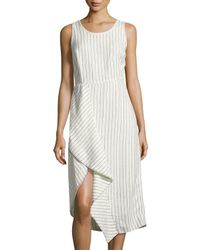 Neiman Marcus | White Pinstriped Scoop-neck Linen Dress | Lyst