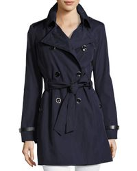 Via Spiga | Blue Classic Double-breasted Trench Coat W/ Belted Waist | Lyst