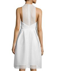 Carmen Marc Valvo   White Sleeveless Textured-mesh A-line Dress   Lyst