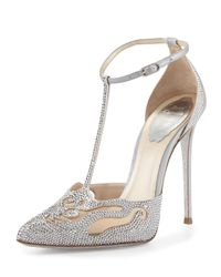 Rene Caovilla - Metallic Crystal T-strap Pointed-toe Pump - Lyst