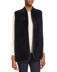 The Row - Blue Reversible Open-front Shearling Fur Vest - Lyst
