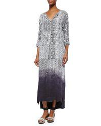 DKNY | Black 3/4-sleeve Dip-dyed Maxi Dress | Lyst