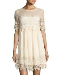 Romeo and Juliet Couture   White Crochet Lace-inset Shift Dress   Lyst