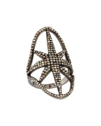 Bavna - Metallic Pave Diamond Star Shield Ring - Lyst