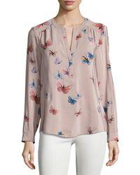aafe4de809e45 Lyst - Joie Carita Butterfly-print Silk Blouse in Pink