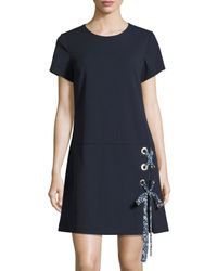 Nanette Nanette Lepore - Blue Short-sleeve Lace-up Dress - Lyst