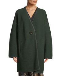 Lafayette 148 New York - Green Oversized Resin-button Front Wool Coat - Lyst