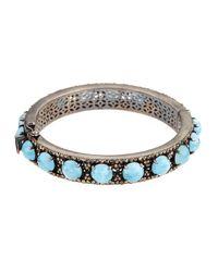 Bavna - Metallic Aquamarine & Champagne Diamond Bangle Bracelet - Lyst