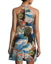 1.STATE - Black Scrawls Floral-print Halter Dress - Lyst