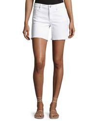 Nanette Nanette Lepore - White Frayed-hem Denim Shorts - Lyst