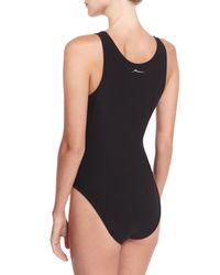 X By Gottex - Black Zip-front Jersey Bodysuit - Lyst