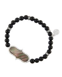 Freida Rothman | Black Matte Beaded Stretch Bracelet W/ Pearlescent Station | Lyst