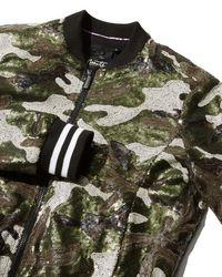 Nanette Nanette Lepore Green Sequined Camouflage Bomber Jacket