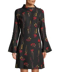 Vince Camuto - Black Botanical Print Fold-over Collar Dress - Lyst