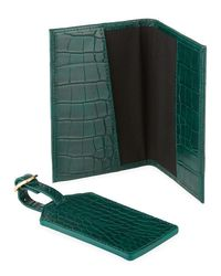 Neiman Marcus - Green Croco Passport And Luggage Tag Set - Lyst
