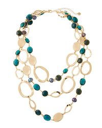 Lydell NYC - Metallic Layered Crystal & Link Necklace - Lyst