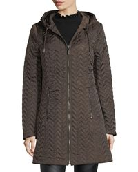 Laundry by Shelli Segal Green Reversible Hooded Quilted Rain Coat