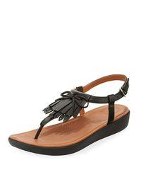 Fitflop - Black Tia Fringe Platform Sandals - Lyst