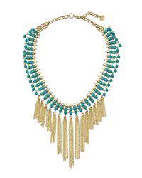 Nakamol   Blue Beaded Statement Fringed Choker Necklace   Lyst