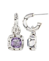 John Hardy - Metallic Kali Amethyst Square Drop Hoop Earrings - Lyst