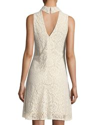 Neiman Marcus White Sleeveless A-line Lace Dress