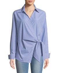 Neiman Marcus - Blue Faux-wrap Long-sleeve Striped Blouse - Lyst