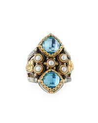 Konstantino | Blue Amphitrite Double Cushion Topaz & Pearl Statement Ring | Lyst