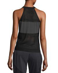 BLANC NOIR - Black Vue Mesh-panel Sweater Tank - Lyst