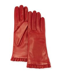 Portolano Red Nappa Ruffle Leather Gloves for men