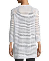 Joan Vass - White 3/4-sleeve Sheer-striped Duster Cardigan - Lyst