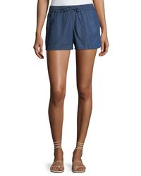 French Connection - Blue Little Venice Chambray Pull-on Shorts - Lyst