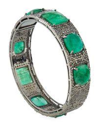 Bavna - Green Emerald & Diamond Pavé Bangle Bracelet - Lyst