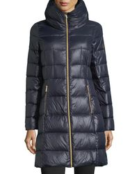 MICHAEL Michael Kors Blue Long Channel-quilted Puffer Jacket