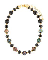 Jose & Maria Barrera - Cloisonne & Jet Black Beaded Necklace - Lyst