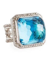 Armenta - Multicolor New World Rectangular Mother-of-pearl & Topaz Ring - Lyst