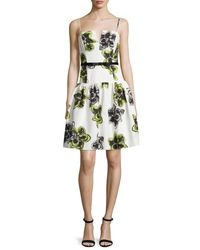 MILLY - Green Sleeveless Dropped-waist Party Dress - Lyst