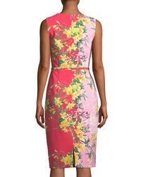 David Meister - Pink Two-tone V-neck Sleeveless Dress - Lyst