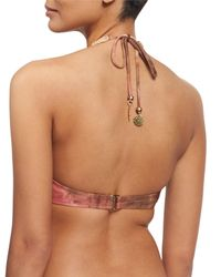 Ále By Alessandra - Multicolor Mother Earth Crocheted High-neck Halter Swim Top - Lyst