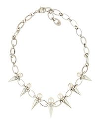 Majorica - White Silver Pearl & Spike Station Necklace - Lyst