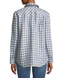 Lafayette 148 New York - White Brody Wanderlust Linen Check Button-down Blouse - Lyst