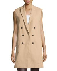 Brunello Cucinelli - Natural Sleeveless Trenchcoat Jacket - Lyst
