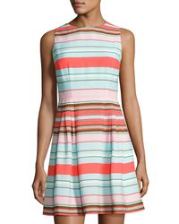 Cece by Cynthia Steffe - Blue Clairborne Striped Fit & Flare Dress - Lyst