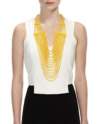 Devon Leigh - Yellow Beaded Multi-strand Long Necklace - Lyst