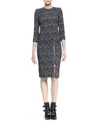 Alexander McQueen | Black Zip-hem Printed Sheath Dress | Lyst