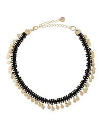 Lydell NYC - Metallic Fabric Choker W/ Golden Disc Drops - Lyst